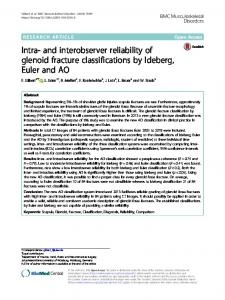 Intra- and interobserver reliability of glenoid fracture classifications by ...