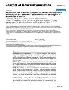 Intradermal administration of magnesium sulphate and magnesium ...
