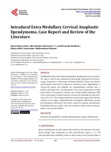 Intradural Extra Medullary Cervical Anaplastic Ependymoma. Case