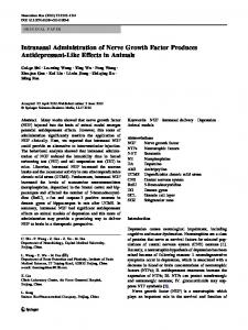 Intranasal Administration of Nerve Growth Factor Produces ...