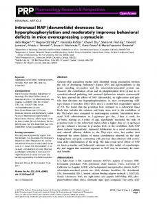 Intranasal NAP (davunetide) decreases tau ... - Wiley Online Library