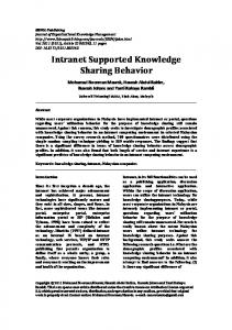 Intranet Supported Knowledge Sharing Behavior - IBIMA Publishing