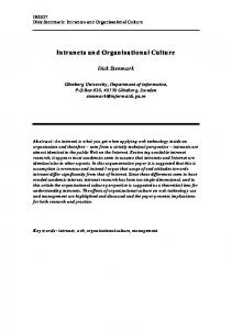 Intranets and Organisational Culture - CiteSeerX