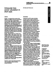 Intraocular lens power calculation in short eyes - Nature