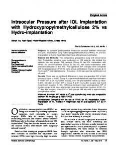 Intraocular Pressure after IOL Implantation with ...