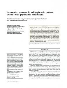 Intraocular pressure in schizophrenic patients
