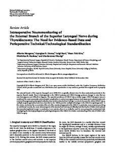Intraoperative Neuromonitoring of the External Branch of the Superior ...