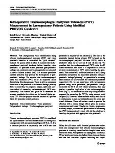Intraoperative Tracheoesophageal Partywall Thickness ... - Springer Link
