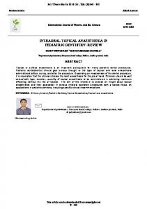 intraoral topical anaesthesia in pediatric dentistry