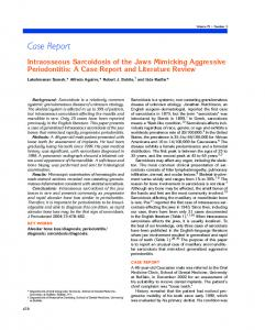 Intraosseous Sarcoidosis of the Jaws Mimicking Aggressive ...