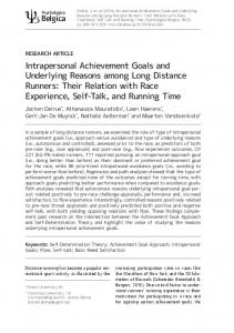 Intrapersonal Achievement Goals and Underlying Reasons among
