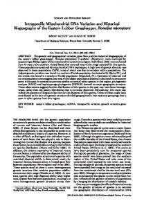Intraspecific Mitochondrial DNA Variation and Historical Biogeography ...