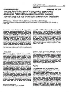 Intratracheal injection of manganese superoxide dismutase ... - Nature