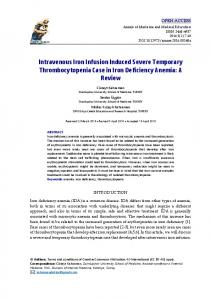Intravenous Iron Infusion Induced Severe Temporary ...