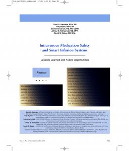 Intravenous Medication Safety and Smart Infusion Systems
