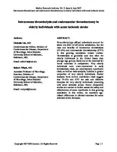 Intravenous thrombolysis and endovascular ... - KEI Journals