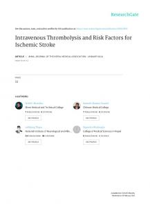 Intravenous Thrombolysis and Risk Factors for ...