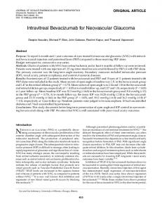 Intravitreal Bevacizumab for Neovascular Glaucoma