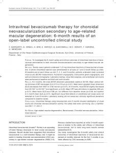 Intravitreal bevacizumab therapy for choroidal neovascularization ...