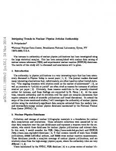 Intriguing Trends in Nuclear Physics Articles Authorship