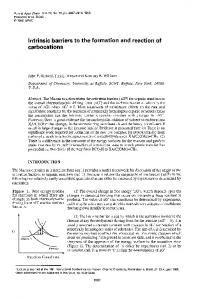 Intrinsic barriers to the formation and reaction of carbocations - iupac