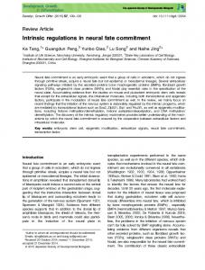 Intrinsic regulations in neural fate commitment - Wiley Online Library