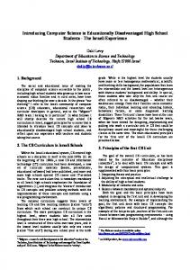 Introducing Computer Science Concepts for Educationally ...