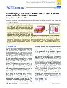 Introducing Cu2O Thin Films as a Hole-Transport ... - ACS Publications