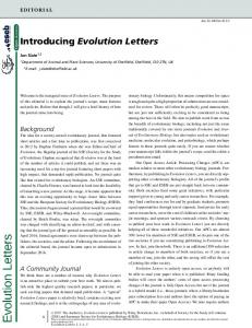 Introducing Evolution Letters - Wiley Online Library
