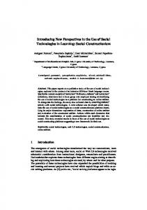 Introducing New Perspectives in the Use of Social Technologies in ...