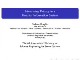 Introducing Privacy in a Hospital Information System - Dipartimento di ...