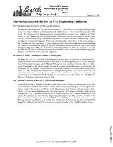 Introducing Sustainability into the Civil Engineering ... - Asee peer