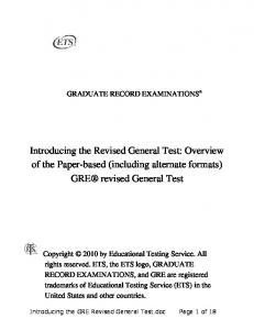 Introducing the GRE Revised General Test 18 point (PDF) - ETS
