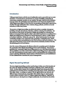 Introduction Digital Storytelling Defined