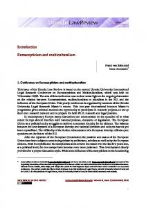 Introduction Euroscepticism and multiculturalism - Utrecht Law Review