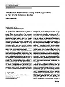 Introduction: Evolutionary Theory and Its Applications