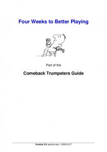 Introduction Four Weeks to Better Playing - Music