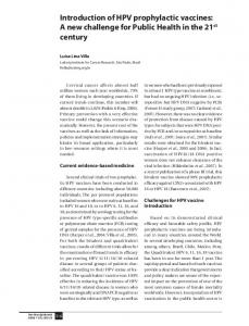 Introduction of HPV prophylactic vaccines: A ... - Scielo Public Health