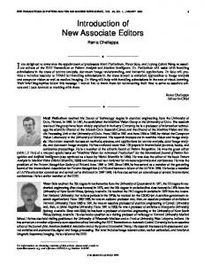 Introduction of new associate editors - Pattern Analysis ... - IEEE Xplore