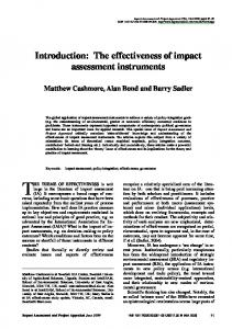 Introduction: The effectiveness of impact assessment instruments