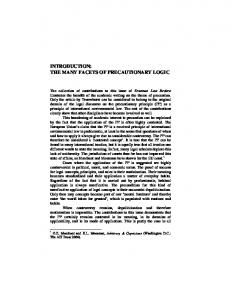 introduction: the many facets of precautionary logic - RePub, Erasmus ...