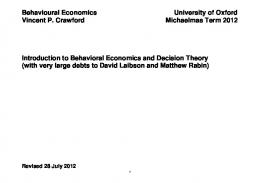 Introduction to Behavioural Economics and Decision Theory