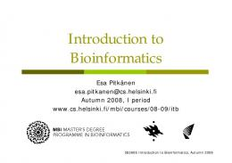 Introduction to Bioinformatics - Helsinki.fi