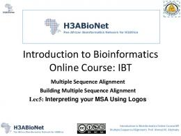 Introduction to Bioinformatics Online Course: IBT
