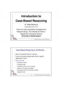 Introduction to Case-Based Reasoning