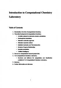 Introduction to Computational Chemistry Laboratory