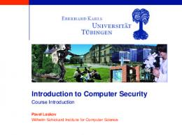 Introduction to Computer Security - Course Introduction