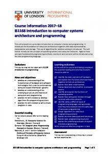 Introduction to computer systems architecture and programming