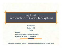 Introduction to Computer Systems Fall 2011