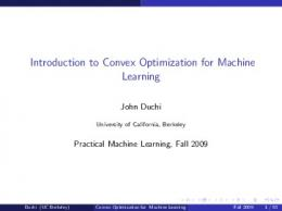 Introduction to Convex Optimization for Machine Learning